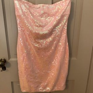 Pink Sequined Bodycon Dress